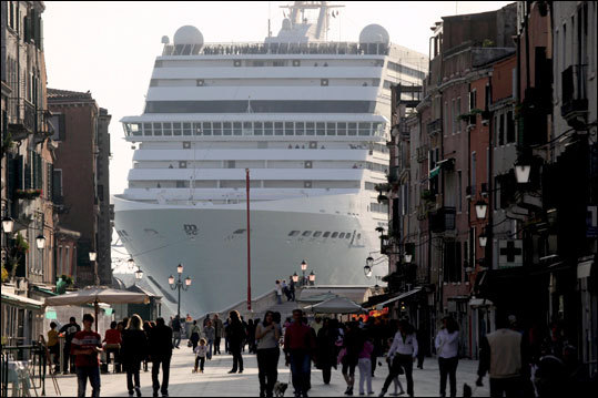 One of the things that any visitor to Venice cannot help but notice is the presence of massive cruise ships basking nearby, dwarfing the city's architecture.