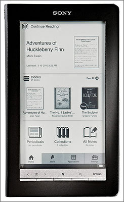 Sony Reader The Reader is Sony's answer to the Kindle. It includes a touchscreen, rather than the thumb keyboard of the Kindle. Related coverage: Reader website PC World: Sony's e-reader vs. Kindle: Five reasons Amazon should worry 37 Signals: Amazon Kindle vs. Sony Reader
