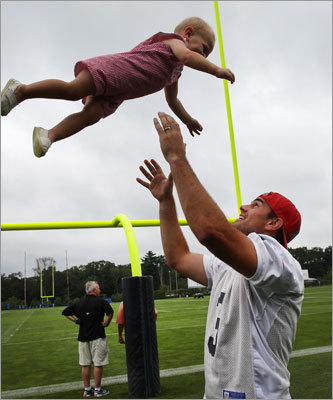 Kicker Stephen Gostkowski was back at camp after missing the final two months of last season with a leg injury. Gostkowski had time to play with his son, Slayden, during a break.
