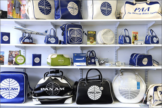 There's still magic in the familiar white and blue logo, with the words 'PAN AM' on it. That symbol is now the property of Pan Am Brands, a small division of a regional railway company that owns the storied Pan American World Airways name. The company manufactures Pan Am bags, watches, T-shirts, cufflinks, and other items, including recreations of the airline's once-ubiquitous blue and white flight bag. The warehouse is packed with merchandise sporting the Pan Am logo, ready to be shipped to customers around the world.