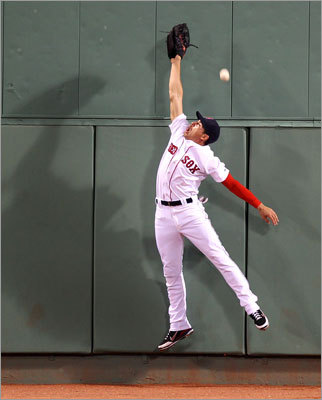 Aug. 4: Indians 7, Red Sox 3 Red Sox center fielder Jacoby Ellsbury couldn't reach this double off the wall hit in the sixth inning by Indians designated hitter Travis Hafner. Hafner scored on Carlos Santana's home run against Franklin Morales.