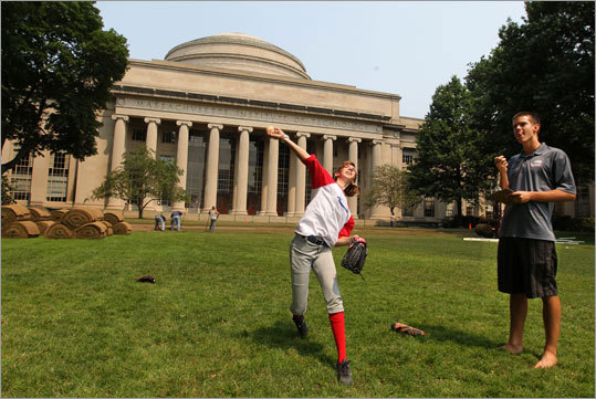 Ally Kachala of Baseball For All took part in a motion velocity experiment as part of MIT's Science of Baseball on Killian Court at MIT.