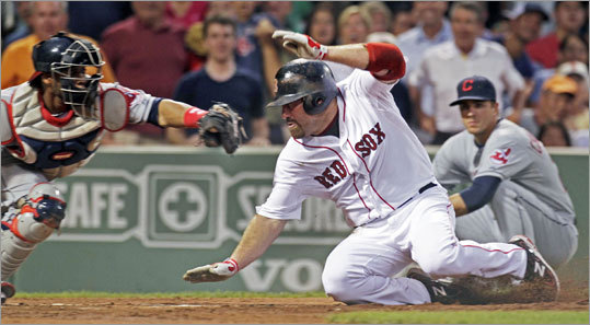 Aug. 1: Indians 9, Red Sox 6 Red Sox first baseman Kevin Youkilis was called out at the plate as he tried to come all the way around on his third-inning triple. Indians catcher Carlos Santana made the tag. Youkilis drove in a run on the play, his second hit of the night.