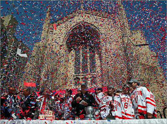 No. 82: Boston University Left, the 2009 Boston University hockey team celebrated their national championship in front of the school's Marsh Chapel.