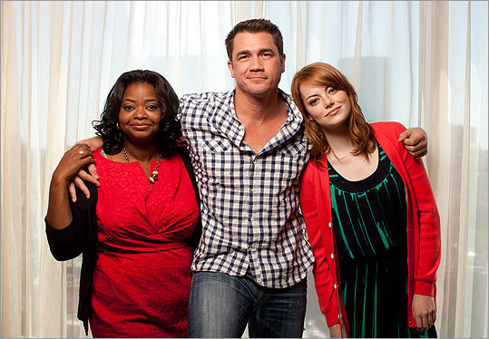 'The Help' director Tate Taylor (center, with stars Octavia Spencer, left, and Emma Stone) is a childhood friend of Kathryn Stockett, author of the best-selling novel on which his film is based.