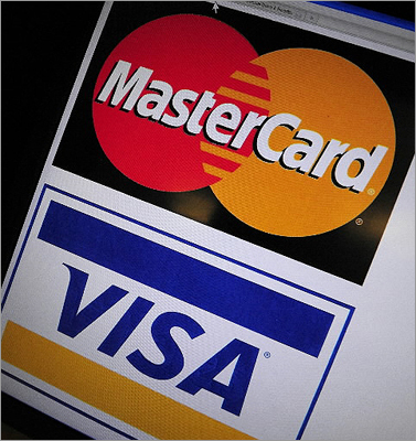 MasterCard, Visa warned of data breach Date announced: March 2012 MasterCard and Visa said in late March that they had notified issuers of its credit cards of a potential breach of the security of customer accounts. Visa blamed a third company for the error.