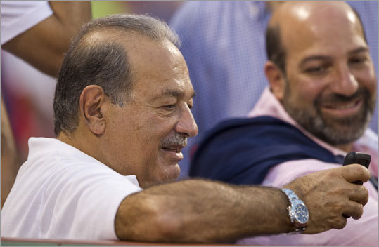 Aug. 7: Red Sox 3, Yankees 2 (F/10) The richest man in the world, according to Forbes, showed up for Sunday night's Red Sox-Yankees game. Carlos Slim, whose net worth is estimated to be more than $74 billion, sat in Sox owner John Henry's seat. Slim loaned $250 million in January 2009 to the New York Times, which owns 7.3 percent of the Red Sox.
