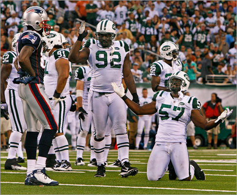 The Patriots showed they are taking defense seriously, and have agreed to terms with former New York Jets defensive end Shaun Ellis (center). Ellis is 6-foot-5 and 290 pounds with a versatile background that would give Bill Belichick a few more options, especially if the Patriots lean more on the 4-3 this year. Last season Ellis collected 36 tackles and 4.5 sacks.The 34-year old has 499 total tackles and 72.5 sacks in his career and has played his entire career with the Jets. Ellis is just the latest big name to sign with the Patriots. Scroll through the gallery to learn more about New England's new acquisitions.