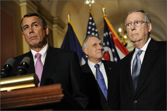 April 15 Republican-led House voted to cut federal spending for Medicare and other services by trillions of dollars over the coming years. Read more Dow: 12,341.80 Left: House Speaker John Boehner, Senator Jon Kyl, Republican of Arizona, and Senate minority leader Mitch McConnell, Republican of Kentucky, spoke to reporters.