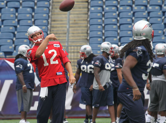 Aug. 10 Tom Brady and the Patriots hold a walk-through practice at Gillette Stadium the day before the first preseason game against the Jacksonville Jaguars Thursday night in Foxborough. Want to share your training camp photos with Boston.com readers? Click here.