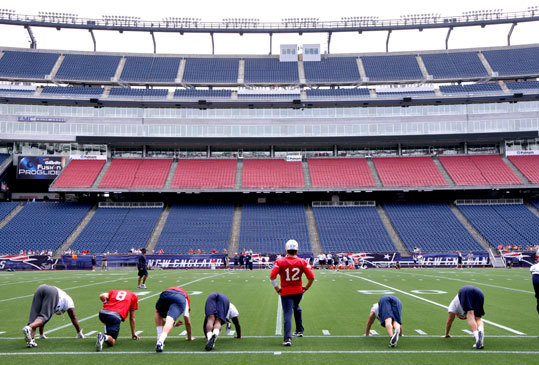 Aug. 10 Tom Brady and members of the New England Patriots hold a walk-through at Gillette Stadium.