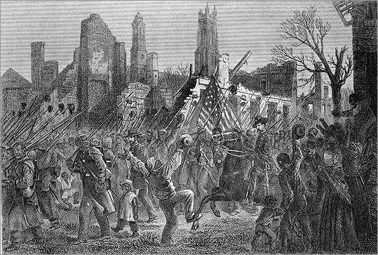 An engraving of the all-black 55th Regiment marching into Charleston, South Carolina, in 1865.