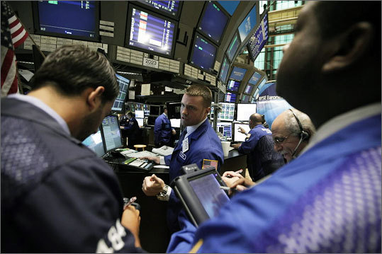 Aug. 10 Stocks fell at the close of trading as investors' attention returned to the weak economy and Europe's debt problems. The drop erases the big gain the day before following a Federal Reserve pledge to keep rates low. The Fed said it expects the recovery to remain slow.