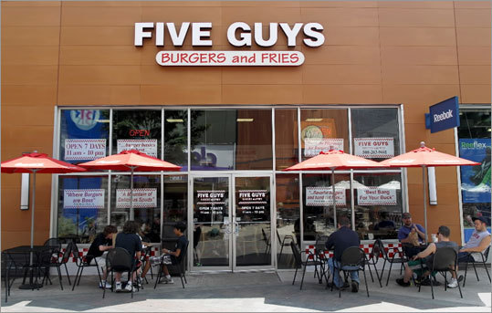 Five Guys Burgers has signed a lease to have a location on Summer Street, according to the Boston Redevelopment Authority. Sixteen new retailers have either opened, signed a lease or started construction in the Downtown Crossing, including Salvatore's, Eat Kitchen, Cakeology, Torit Language Center, Back Deck Grill and Fresh Mango Yogurt Shop.
