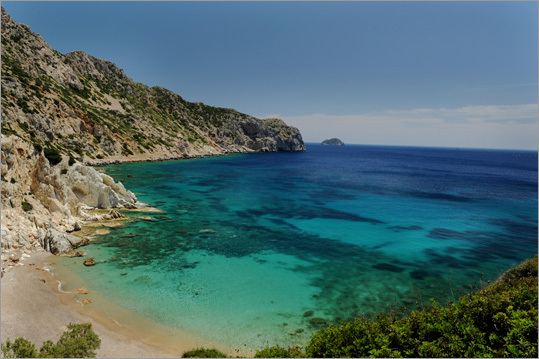 Vroulidia is Chios's southernmost beach, a sunbather's favorite.