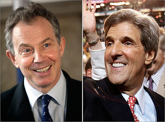 Two words: Dental hygiene Yeah, it's a bit of a cheap shot... But look at the choppers on former Prime Minister Tony Blair compared to the pearly whites of US Senator (and former presidential candidate) John Kerry.