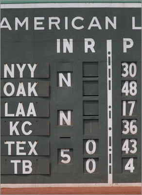 """Tom Yawkey and Jean Yawkey have their names written in Morse Code on the left field scoreboard on the Green Monster. Said Dick Bresciani: """"We believe the Morse code in the scoreboard was put on in 1947 by Mr. and Mrs. Yawkey as their own way of commemorating their days at Fenway. On Sunday afternoons when the team was out of town, Tom and Jean would come over to Fenway Park, get the radio, go out to center field, spread a lunch and have a picnic and listen to the game. It's just there initials TAY and JRY.."""""""
