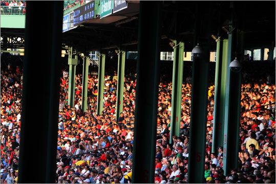 Pictured are 10 of the 26 poles in the grandstand at Fenway Park. They obstruct the view of home or the pitcher for three percent of fans, according to the book, 'Fenway! The Ultimate Fan's Guide.'