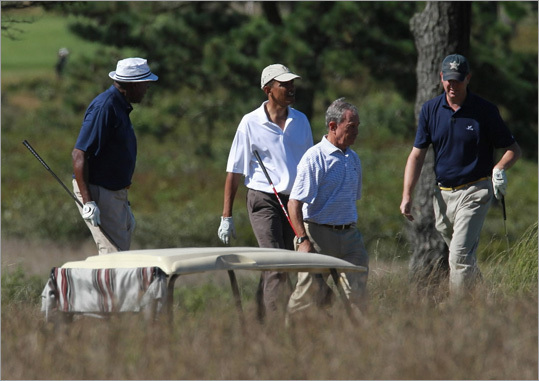 In 2010, Obama hit the links at Vineyard Golf Club with Vernon Jordan, New York Mayor Michael Bloomberg, and Marvin Nicholson.