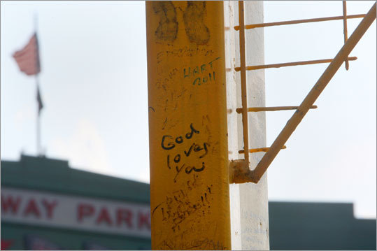 The Red Sox have no idea how often they've repainted Pesky's Pole in right field but its always covered with graffiti. Said Red Sox historian Dick Bresciani: &#147;There&#146;s been a lot of discussion into how it has come into being, but it's mainly attributed to a remark Mel Parnell made in the early '50s when he was pitching and [Johnny] Pesky hit a home run. It wasn&#146;t a game-winning home run but it was one of his infrequent home runs that curled around the pole. Mel said something about Pesky&#146;s Pole and it stuck, just from that remark that Mel had made. I don&#146;t know how many times its been repainted, but I know its a lot.'