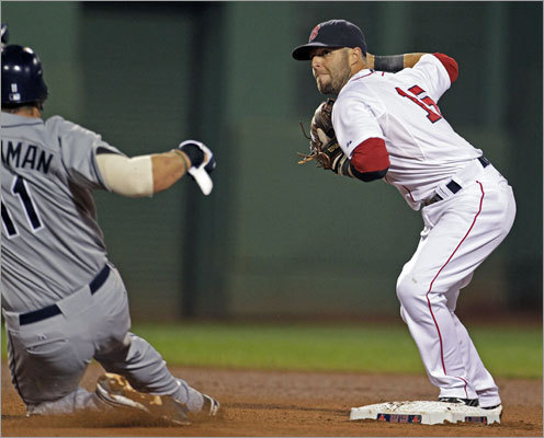 Aug. 16, Game 2: Rays 6, Red Sox 2 Dustin Pedroia was the pivot man for the Red Sox' triple play. He forced Casey Kotchman at second before throwing out Sean Rodriguez at first.