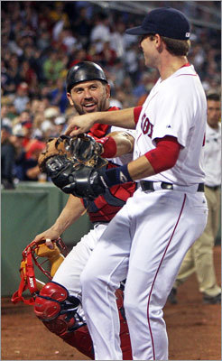 Aug. 16, Game 2: Rays 6, Red Sox 2 Catcher Jason Varitek was pleased by the turn of events that got the Red Sox out of the fourth inning in a hurry. He congratulated Jed Lowrie, who started a triple play at third base, when they returned to the dugout.