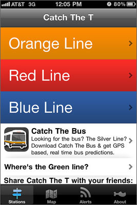 Catch the T Tired of waiting at your train station and not knowing how much longer until one will arrive? This 99-cent iPhone app gives you times for trains on the Red, Orange, and Blue lines. MBTA Subway Watch Boston in the Android Market for $2.99 also gives real-time tracking data. Submitted by: Joe Allen-Black, Medford