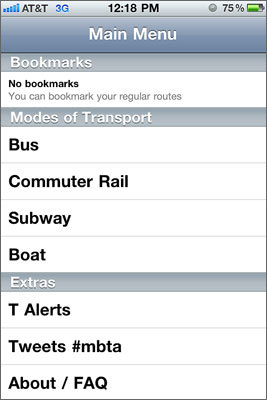 OpenMBTA OpenMBTA has reliable info about bus, train, and subway and gets you the info quickly and easily. Submitted by: Ryan, Woburn Free for the iPhone | Free for Android .