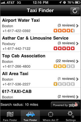 TaxiFinder TaxiFinder , a free iPhone app, not only finds you a cab, but it also estimates the taxi fare for your trip. Excellent app when going out for a town. Submitted by: Jack, Boston College Android users highly rate the free cab4me taxi finder