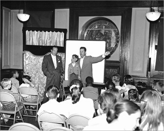 American comedian and actor Bob Hope (left) joined local ventriloquist Bob Munstedt and his sidekick, Alex Smallwood, in a show for the youngsters at the Home for Little Wanderers.