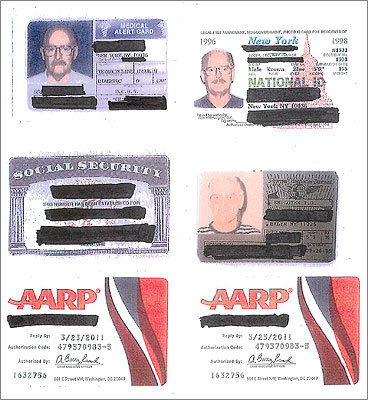 Federal authorities blacked-out the names on the documents, which included New York resident cards issued in 1996, a NY employee ID, a medical alert card falsely indicating Bulger was diabetic, a Social Security card, and two AARP membership cards.