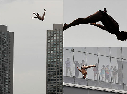 Curve. Position. Velocity. Gravity. Energy. Those are the words that describe the participation of the world's best high divers in the 2011 Red Bull Cliff Diving World Series. As part of a global tour, the competition was held Saturday in Boston at the Institute of Contemporary Art building on Fan Pier. Besides the United States, other countries on the tour include Chile, Mexico, Greece, France, Italy, and Ukraine. Take a look at photographs from Saturday's event and Friday's training in Boston.