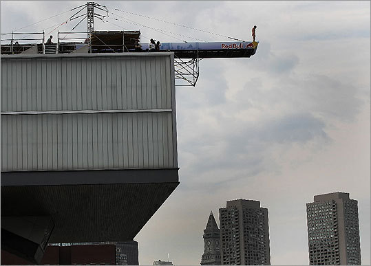Rather than natural cliffs, the divers used a specially built platform on the roof of the ICA, 80 feet above the water's edge.