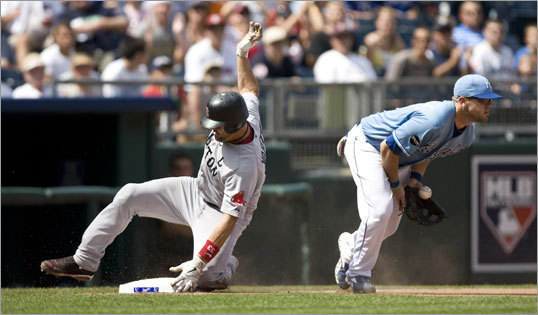Aug. 21: Red Sox 6, Royals 1 Varitek slid safely into third base. The last catcher older than Varitek to triple was 40-year-old Benito Santiago in 2005.