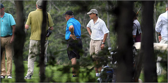 Another view of the president on the course.