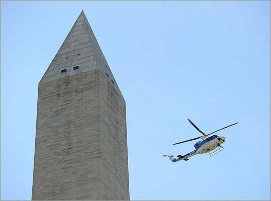 A police helicopter inspected the Washington Monument shortly after the earthquake struck.