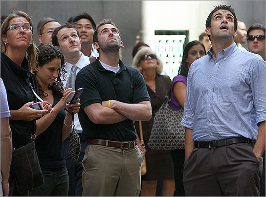 Rumbles from a 5.9 earthquake in Virginia shook the eastern seaboard just before 2 p.m. on Aug. 23, lasting several seconds in the Boston area. Though the epicenter wasn't in Massachusetts, we were curious about the earthquakes that have happened here. Read about some notable earthquakes in Mass. Pictured: Workers evacuated from their offices looked up at the buildings on Devonshire Street in Boston.