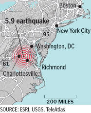 The US Geological Survey said the earthquake measured 5.8 on the Richter scale and was centered 83 miles southwest of Washington, D.C.