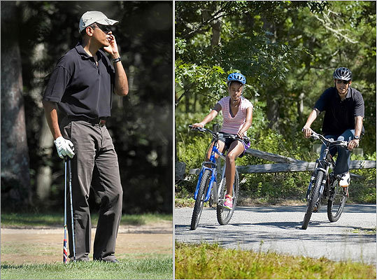 President Obama left the seclusion of the 28-acre Chilmark estate where his family has been vacationing to hit the links at Farm Neck Golf Club (left) and bike with his daughter Malia.