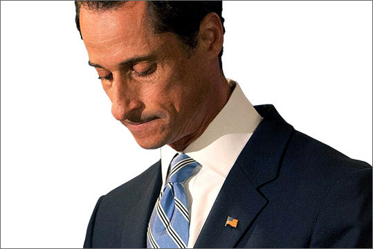 Anthony Weiner, former US representative from New York Weiner resigned from Congress in June 2011 after he posted a sexually suggestive photo of himself on Twitter. He meant for the message to be private, but he posted it publicly. Later, other suggestive images of him emerged in became dubbed 'Weinergate.'