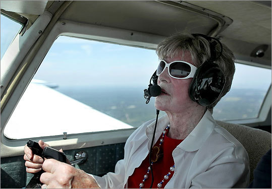 "At Norwood Memorial Airport Malley, a former resident of Cohasset who now lives in Weymouth, soared into the clouds, piloting her first plane in four decades. ""I never expected to live to this ripe old age,'' she said. ""I guess I still have a lot to do.''"