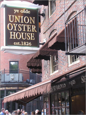 "UNION OYSTER HOUSE a National Historic Landmark, is the oldest restaurant in continuous service in the country and is located in the earliest standing brick building in Boston. ""If you're going to go to an oyster bar, you go here,'' said Don Perdios of Braintree. In addition to the famed raw bar, the menu offers traditional New England favorites such as lobsters with corn on the cob, and grilled, broiled, or fried scallops, clams, scrod, shrimp, and other seafood. ""What's old is old for a reason,'' said Perdios. ""It's very good.'' Tip : Sit at the semicircular wood bar where Daniel Webster (1782-1852), senator and statesman, enjoyed oysters and brandy daily. 41 Union St., Boston, 617-227-2750, www.unionoysterhouse.com"