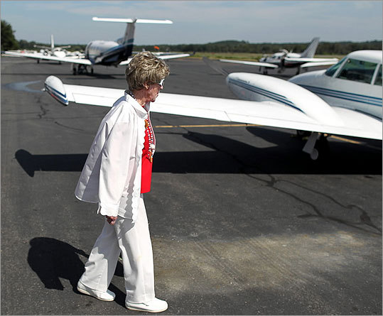 "A funny thing happened to Barbara Malley on the way to her ninth decade, as she states so frankly in her new blog, ""Tears and Laughter at 90.'' ""I discovered that life was as enjoyable as ever,'' wrote the author and mother of four, who turned 90 last Wednesday. Malley treated herself to flying a twin-engine Comanche to celebrate her 90th. Here is a look at her celebration flight. To read the full article, click here. Malley (left) walks out on the tarmac to the plane."
