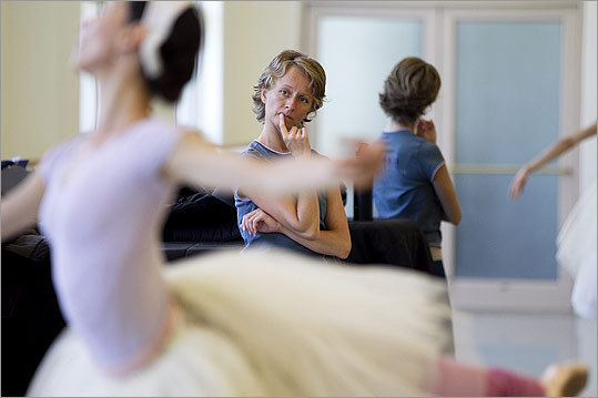 As ballet master, Larissa Ponomarenko watches Erica Cornejo during a rehearsal.