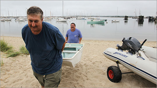 Stam and DeSimone moved the boats after securing their bigger boats in preparation for Hurricane Irene.