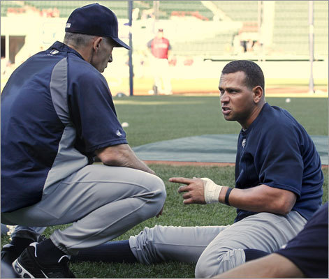 Aug. 30: Yankees 5, Red Sox 2 Yankees third baseman Alex Rodriguez spoke with manager Joe Girardi prior to the first game of the series at Fenway Park. Rodriguez's injured thumb was wrapped, and Girardi said Rodriguez would not play in the opener of the series.