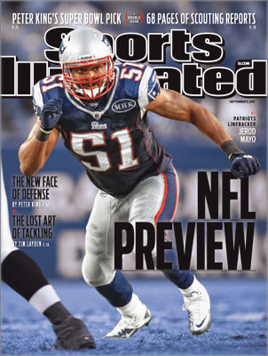 Heart of the defense Patriots linebacker Jerod Mayo was featured on the regional cover of the Sept. 5, 2011 issue for the magazine's NFL preview.