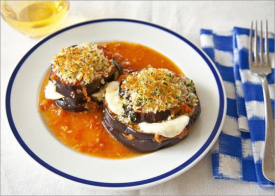 Eggplant-mozzarella stacks