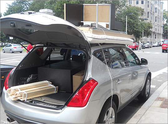 Universities' residential life departments often ask students to bring only one carload when moving to Boston.