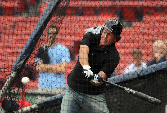 Sept. 1: Yankees 4, Red Sox 2 Golfer Phil Mickelson took batting practice before the game.